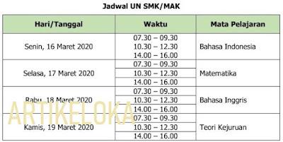Jadwal Ujian Nasional SMA / MA 2020 (UNBK / UNKP)