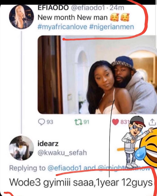 '1 Year, 12 Guys' - Ghanaian actress, Efia Odo Slammed After She Shared Photos Of Her New Man