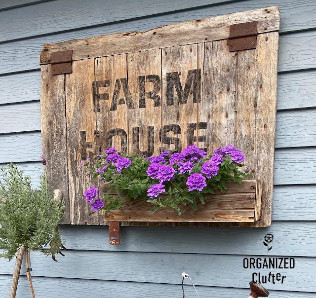 Photo of a barn door sign/planter with verbena