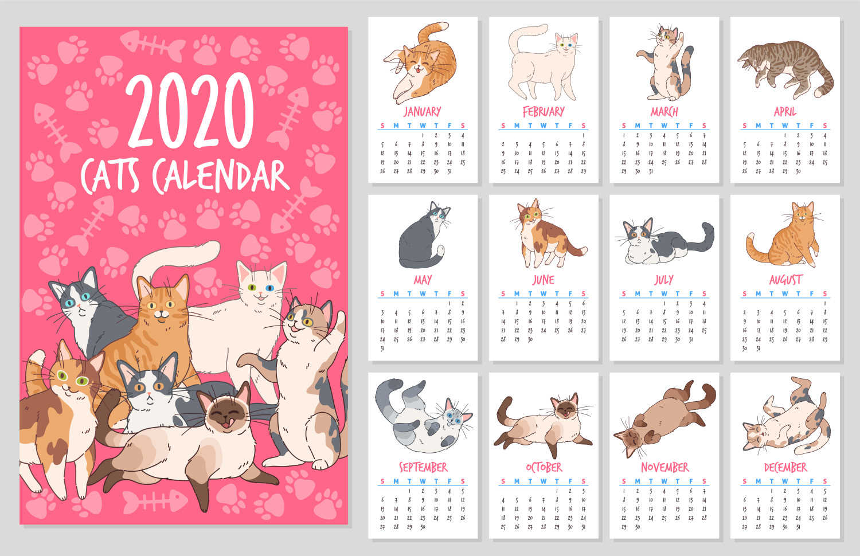 kalendar kucing cute 2020