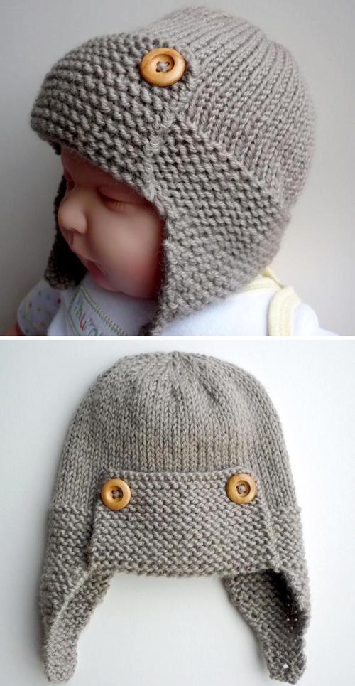 Baby Aviator Hat - Knitting Pattern