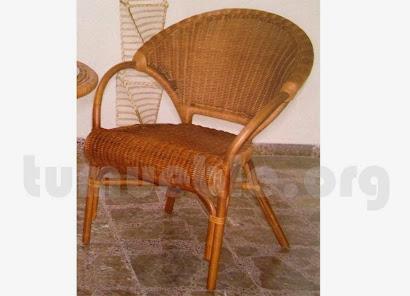 sillón para comedor hecho en caña de bambú y rattan natural j910