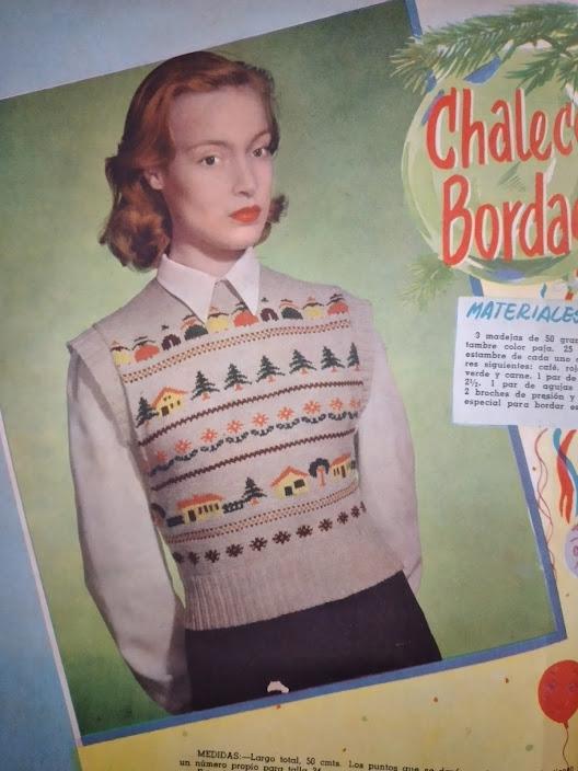 Blusa de tricô com motivos natalinos. Revista La Familia, 1st Dezembro de 1952
