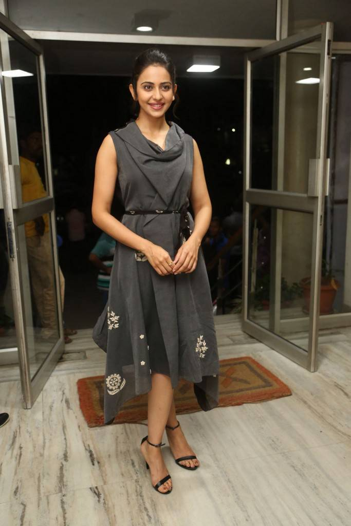Rakul Preet Singh Photos In Black Dress At Khakee Movie Press Meet