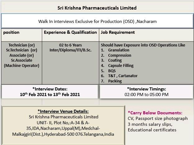 Sri Krishna Pharma | Walk-in interview for Multiple Positions on 10-13th Feb 2021