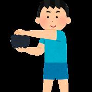 メディシンボールを使う人のイラスト(男性)