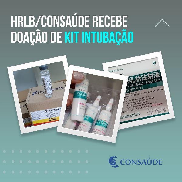 HRLB/CONSAÚDE recebe doação de medicamentos do kit intubação