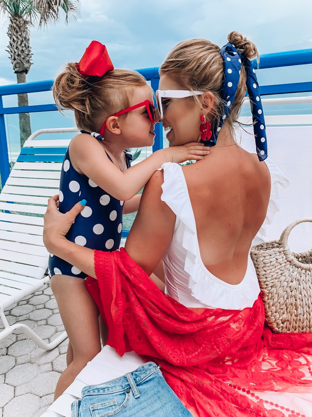 $40 Target Ruffle Back Swimsuit: Patriotic Styling, Red, White & Blue/White Polka Dots - Something Delightful