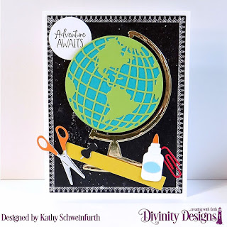 Divinity Designs Stamp Set: Adventure Awaits, Custom Dies: Globe & Stand, Clipboard Set, Paper Collection: Chalkboard