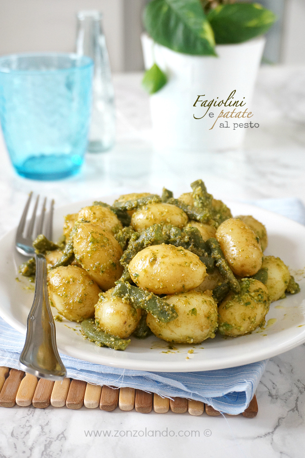 Fagiolini e patate al pesto ricetta semplice contorno light, green beans and potatoes with pesto recipe