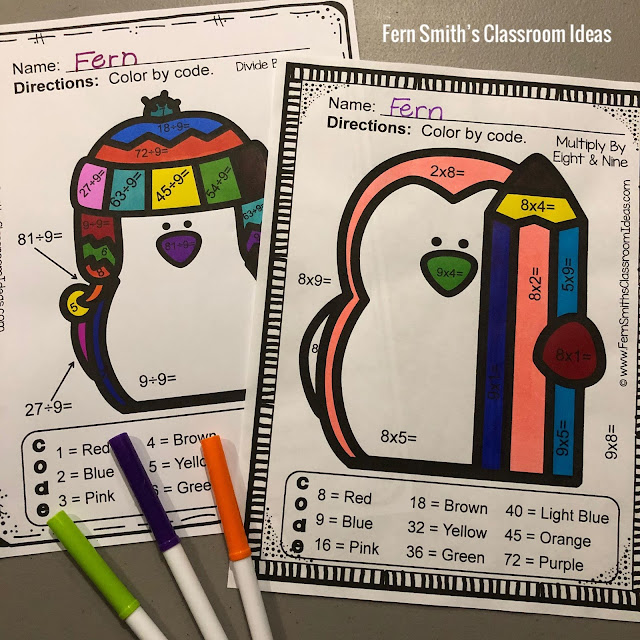 Winter Color By Number Multiplication and Division Bundle at TeacherspayTeachers by Fern Smith of Fern Smith's Classroom Ideas.