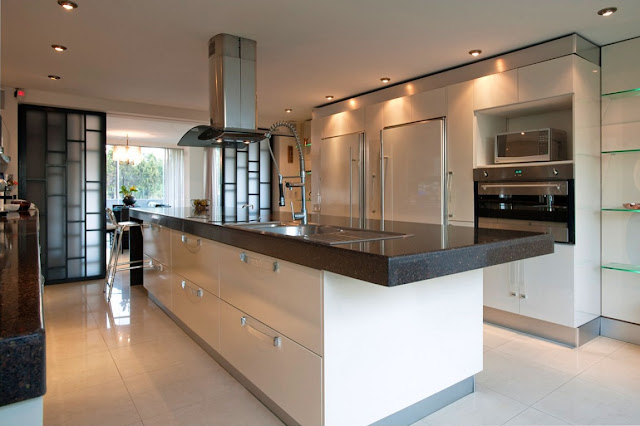Large modern kitchen with central island