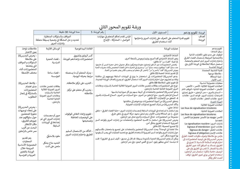 جذاذة بطاقة الورشة 5 تقويم و دعم الوحدة الثانية المستوى الأول pdf