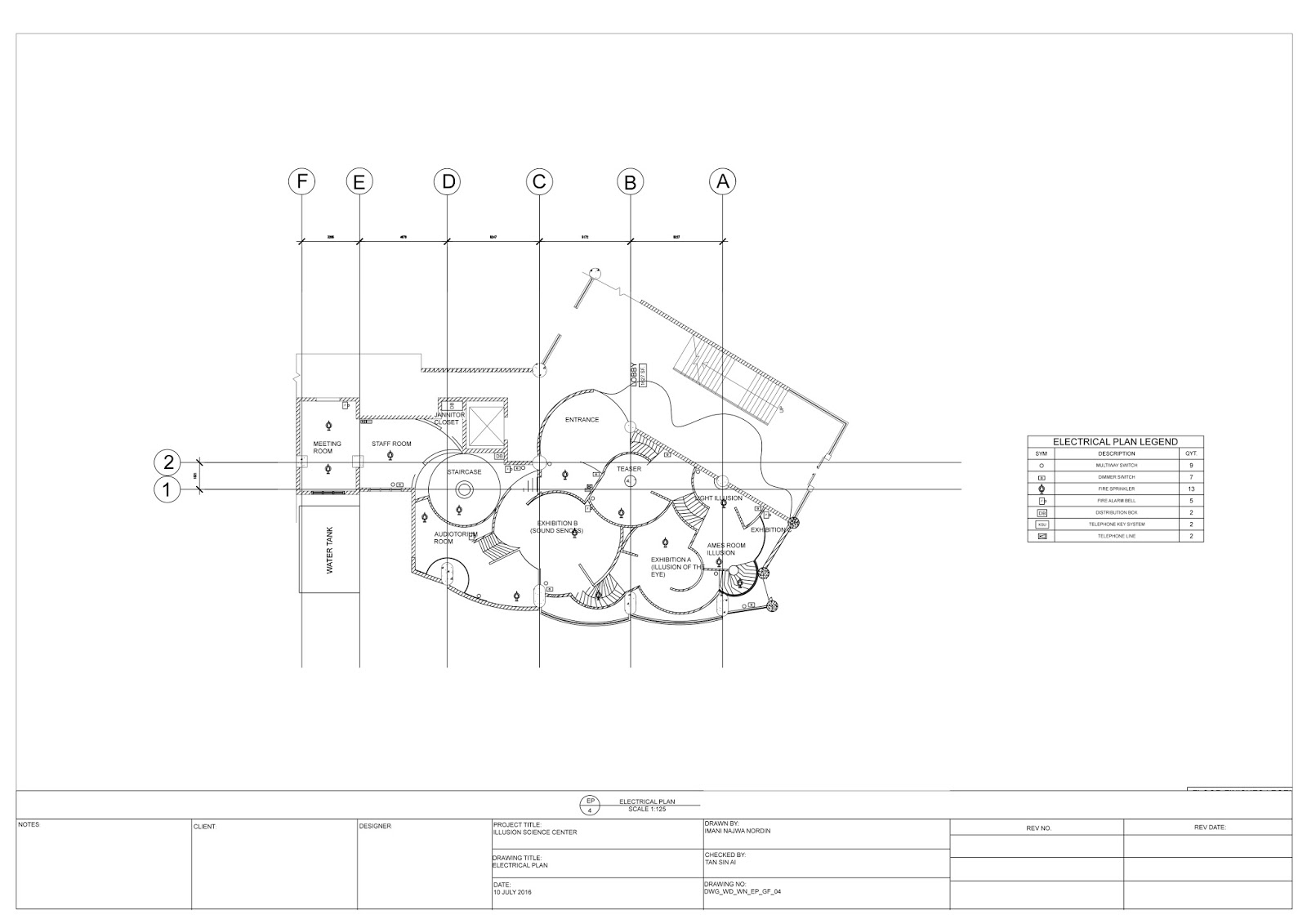 Imani Nordin 0319405 Detailing And Working Drawings Project 3 Legend Of Electrical Plan Ceiling