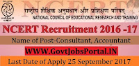 National Council of Educational Research And Training Recruitment 2017-Consultant, Accountant