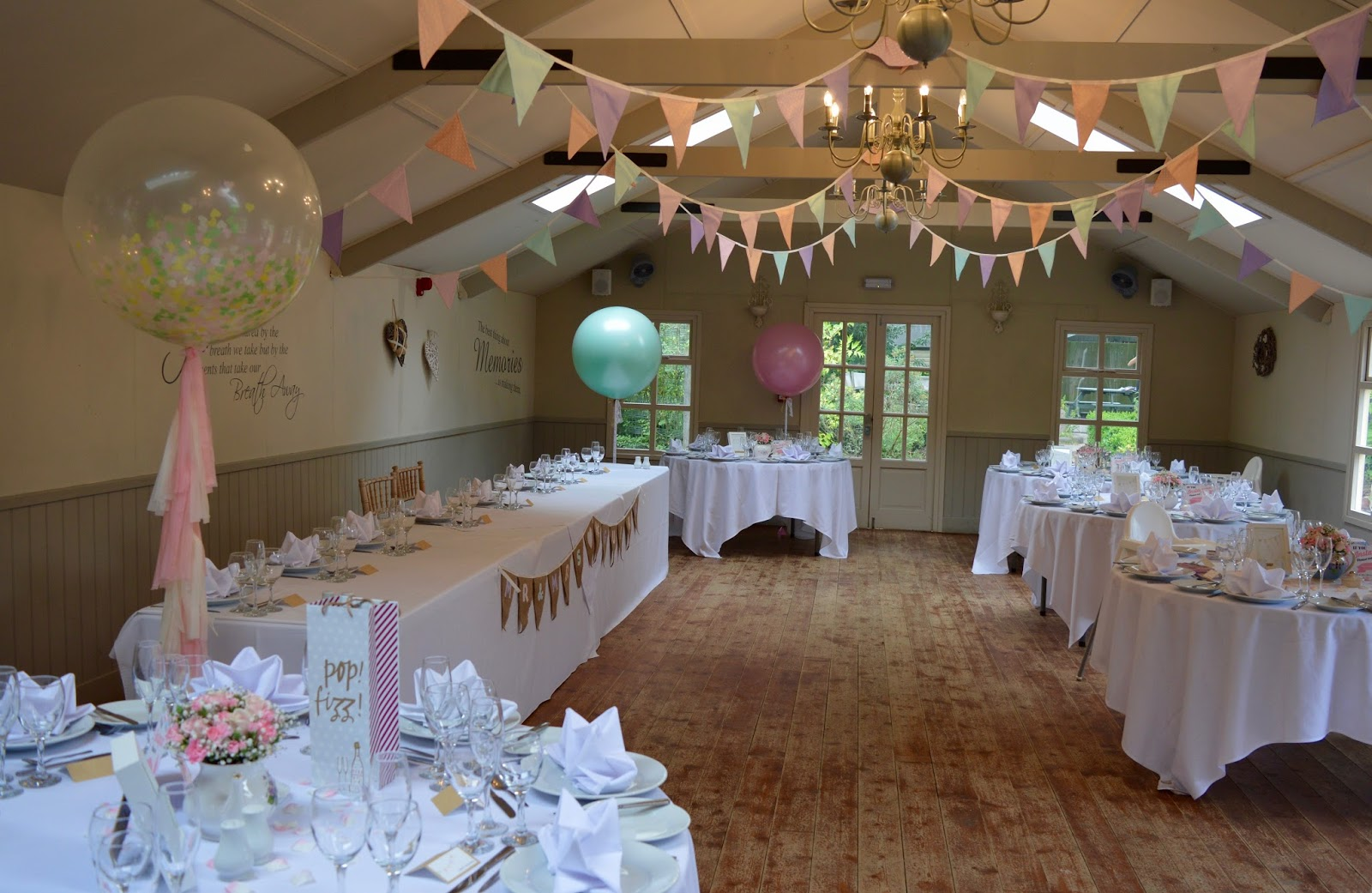 Weddings at The Parlour at Blagdon in Northumberland - the willow room decorations