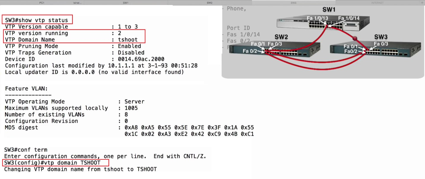 TroubleShooting VTP | Best Cisco CCNA CCNP and Linux/CentOS