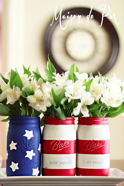Patriotic Decorations Flag Mason Jar Vase Stars And Stripes American America USA Red White Blue 4th of July