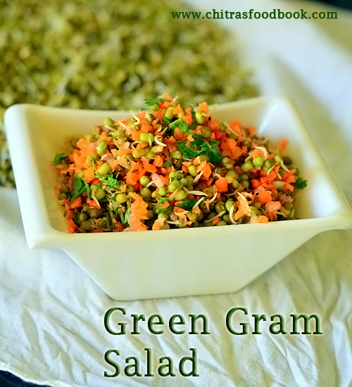 Sprouts salad recipe - Sprouted moong bean salad for weight loss