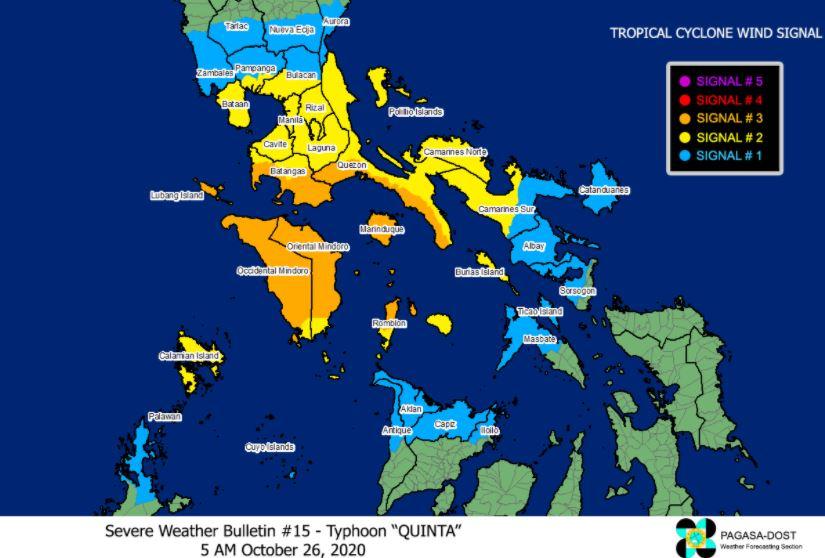 'Bagyong Quinta' PAGASA weather update October 26, 2020