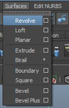 Surface, Revolve, Loft, Planar, Extrude, Biral