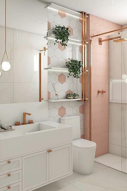 banheiro rose golg com branco