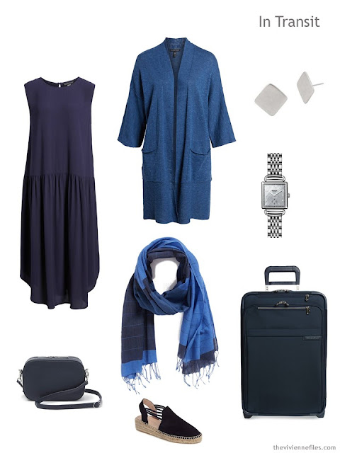 travel outfit in navy and medium blue