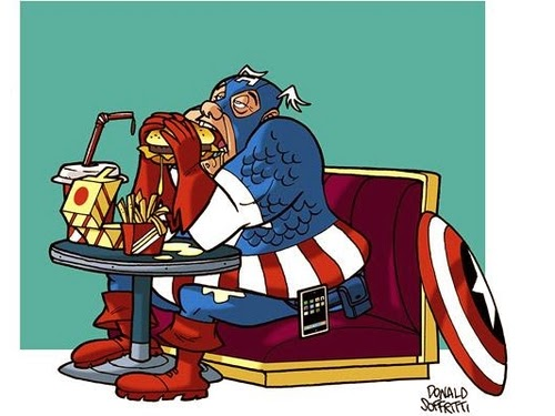 01-Captain-America-Steve-Rogers-Donald-Soffritti-Cartoon-Cartoonist-Superheroes-in-Old-Age-www-designstack-co