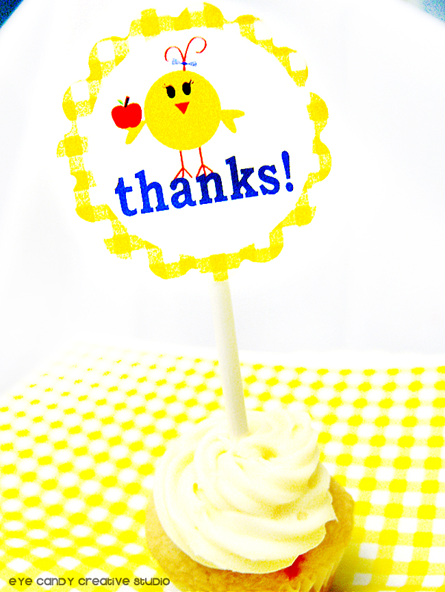 teacher appreciation cupcake topper, thanks, thank a teacher, cupcake