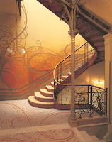 Photo: heavily ornamented art nouveau staircase