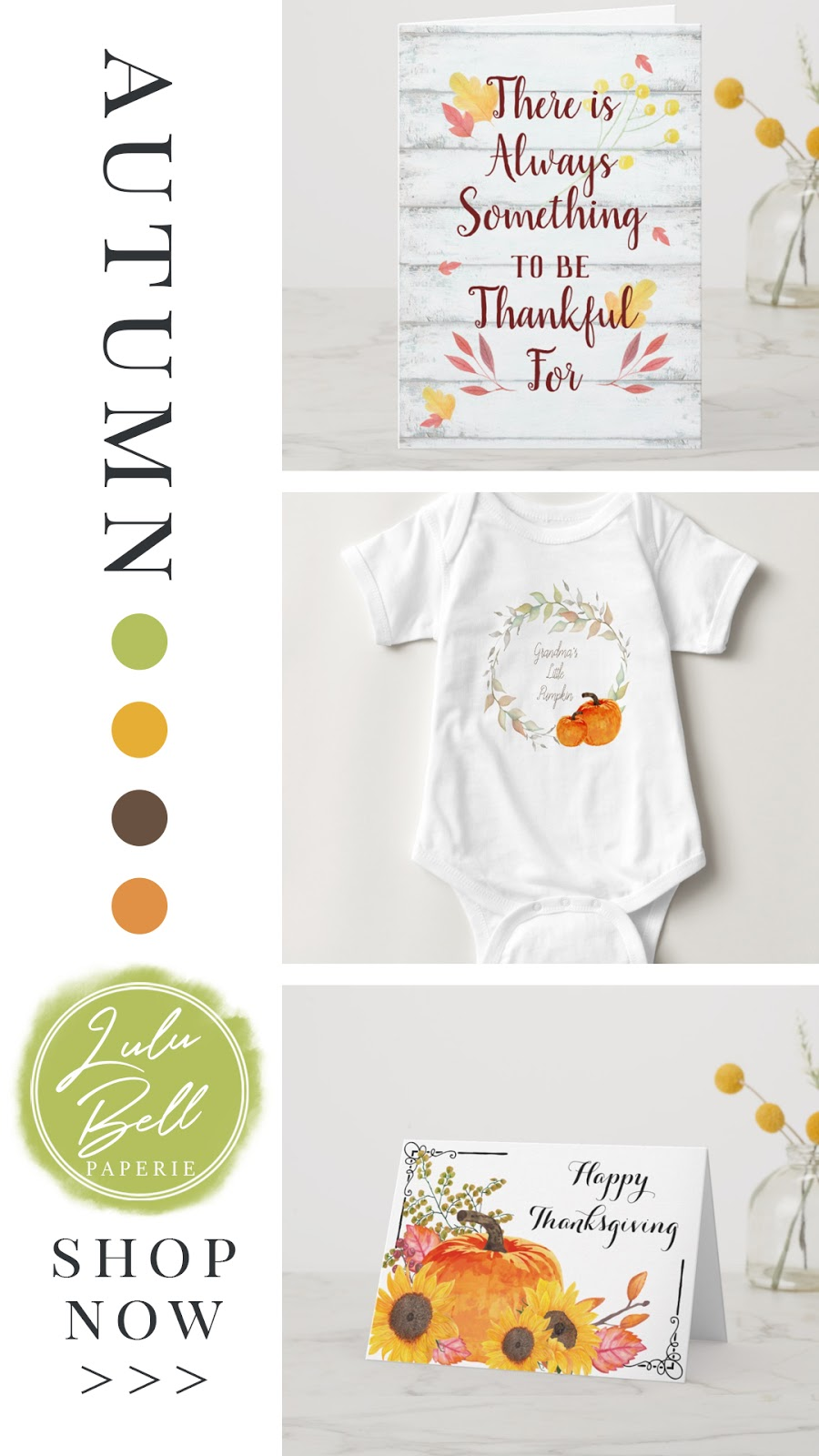 Autumn Farmhouse Home Decor Collection - Thankful Cards, Baby Apparel, and Happy Thanksgiving Cards