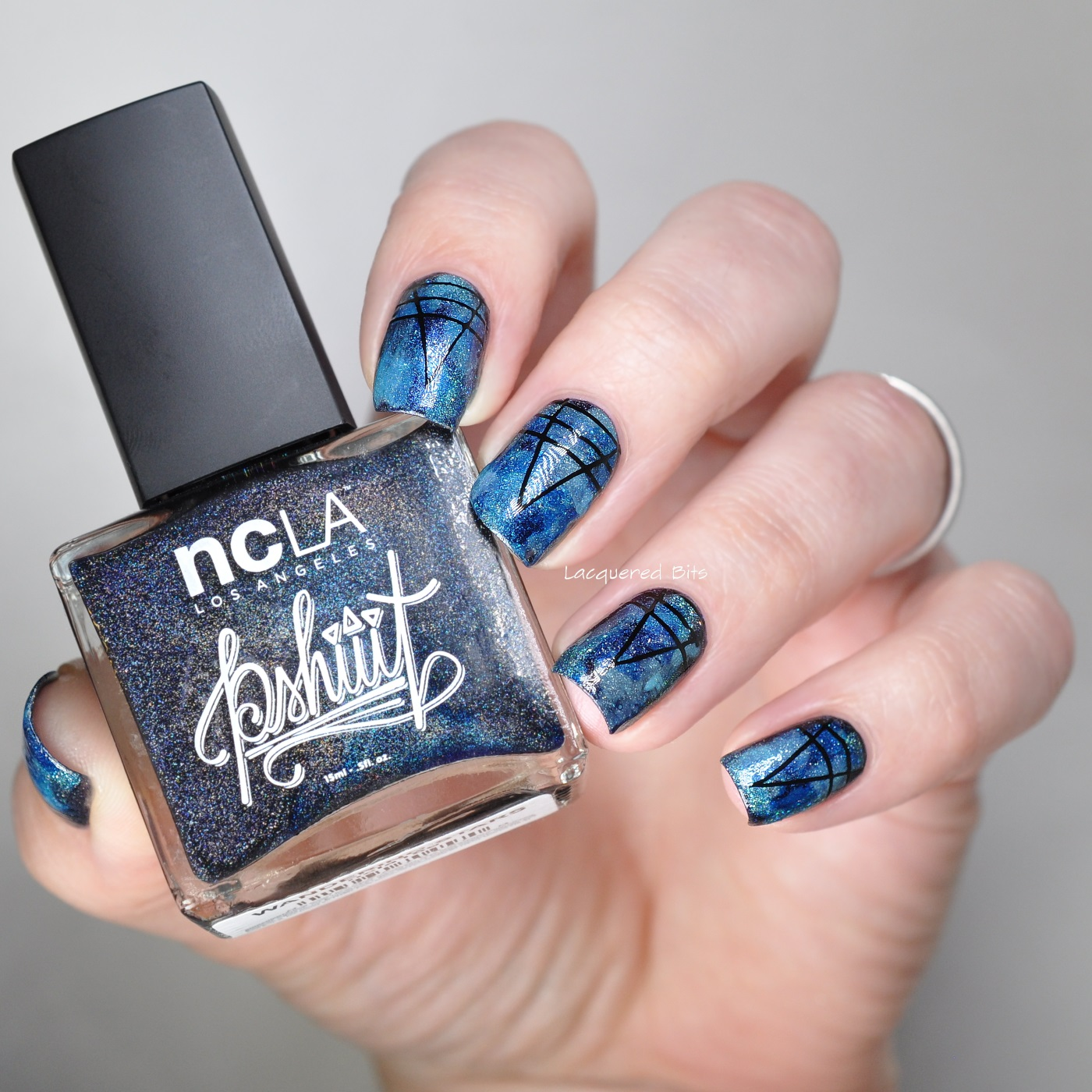 Blue Holographic nails
