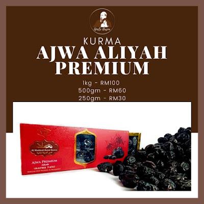 Senarai Harga Kurma Ajwa Aliyah Premium mengikut berat