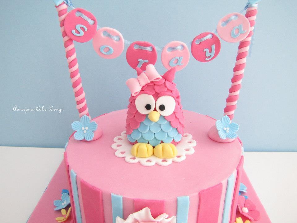 Pink 3d Owl Birthday Cake