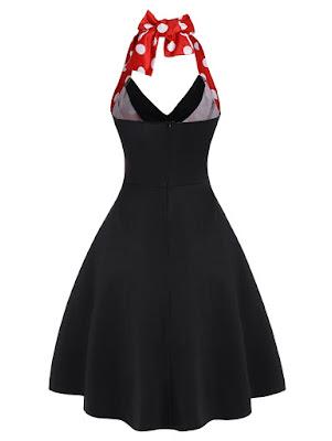 vestido vintage en color negro y rojo