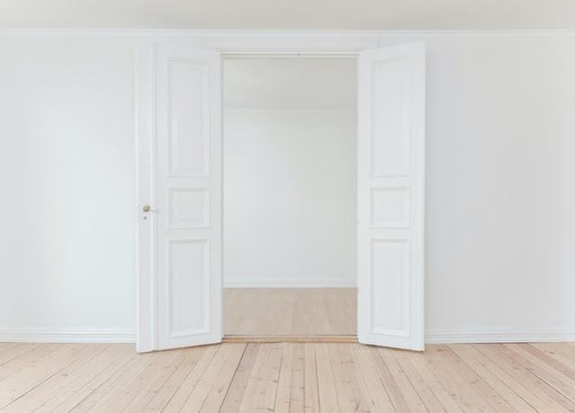White door and white walls