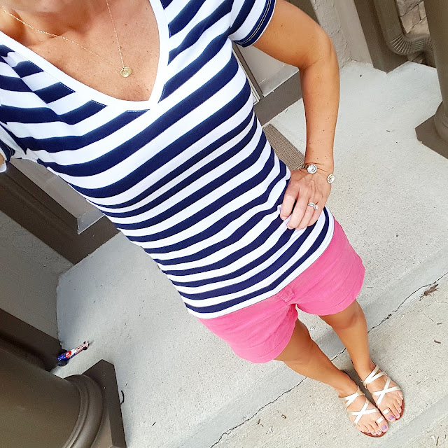 Today I'm in my striped navy and white tee for the 4th of July. Unfortunately my Merona v-neck tee is sold out, but it's still available in scoop neck, crew neck, and long sleeve v-neck. My shorts are from Old Navy and most sizes are sold out. You can find a similar pair here - 40% off. I'm also in my Mossimo sandals that you have been seeing me wear a ton