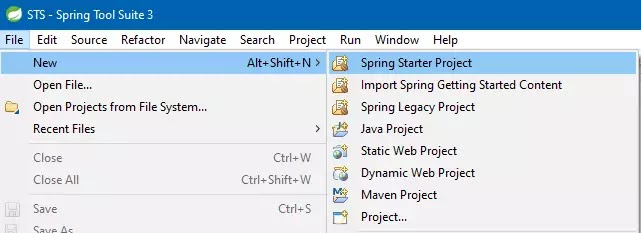 Start Spring Too Suite. Go to File -> New -> Spring Starter Project.