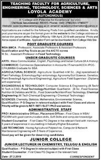Loyola Academy, Secunderabad Recruitment 2019 Professor/Associate Professor/Assistant Professor Jobs