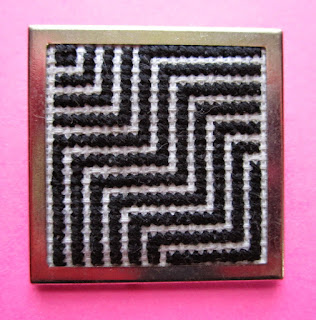 Floss & Fleece: cross-stitch op-art pin