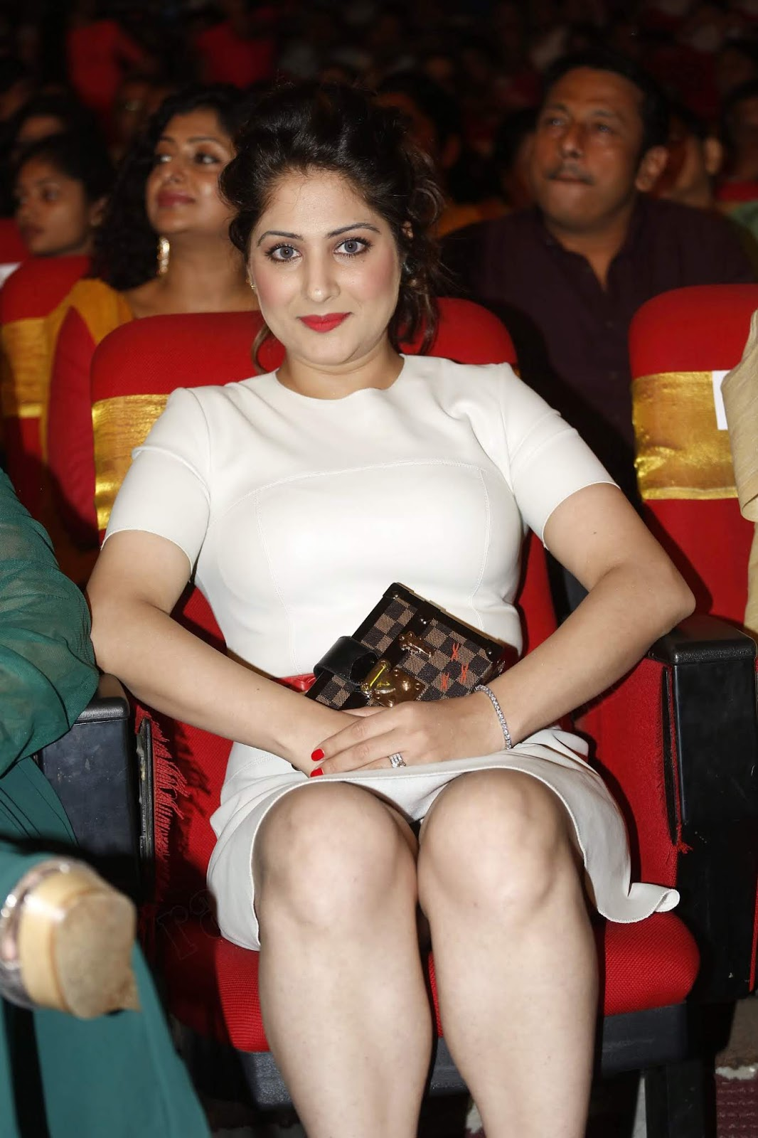Gowri Munjal Displaying Her Milky Hot Legs In White Short At TSR TV9 Awards