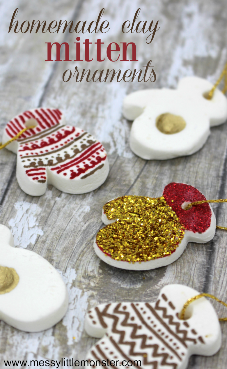 Follow our easy homemade clay recipe to make the perfect white clay mitten ornaments. A fun Christmas craft for kids and adults alike using homemade baking soda clay.