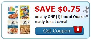 $0.75 on any ONE (1) box of Quaker® ready to eat cereal
