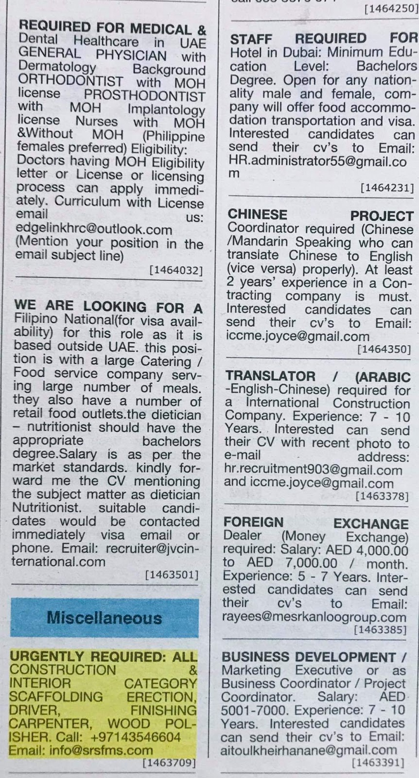 Required following Position for UAE Local Hiring Jobs