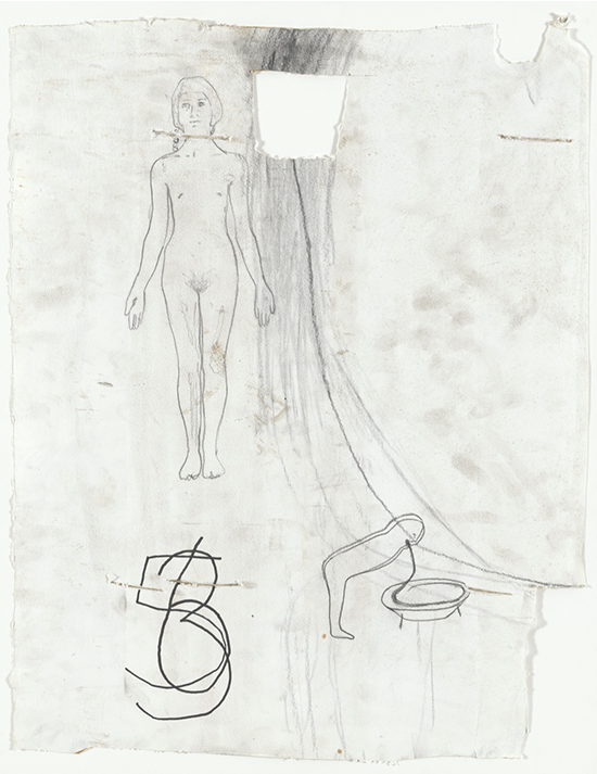 Mark Manders Yellow Bathtub/Three Touched, 2000 Pencil on paper 66 x 52 cm