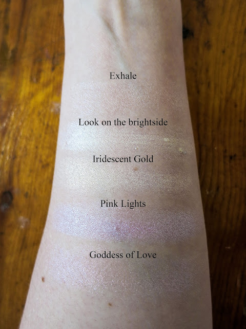 Swatches of highlighters for pale skin