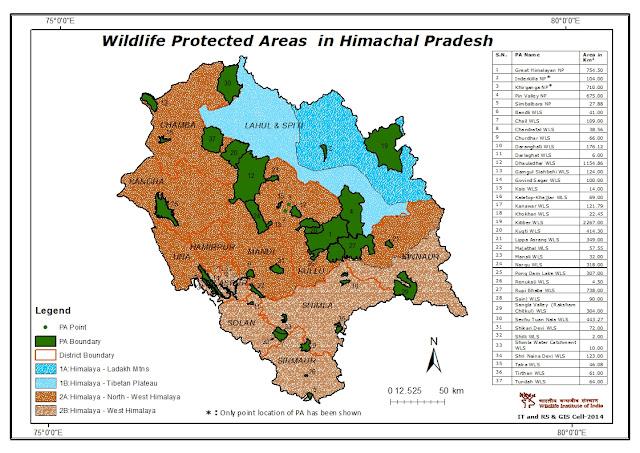 Map of Wildlife Sanctuaries and National Parks in Himachal Pradesh