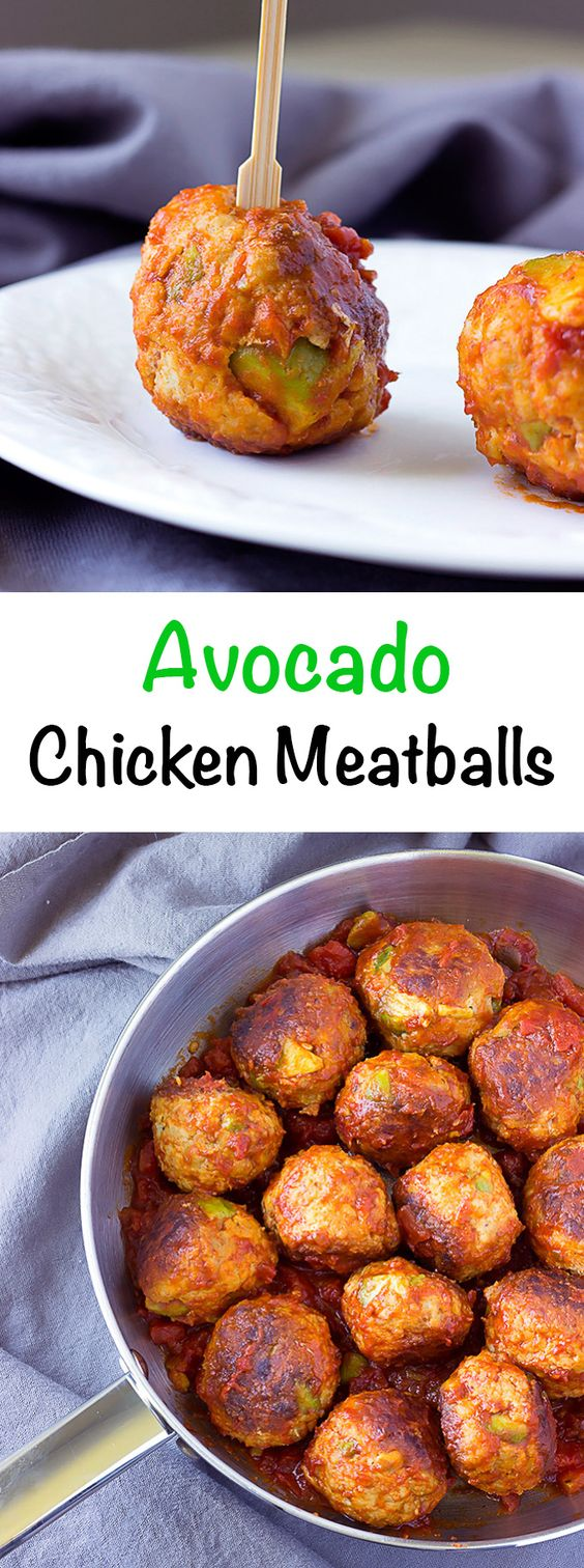 AVOCADO CHICKEN MEATBALLS IN SPICY TOMATO SAUCE
