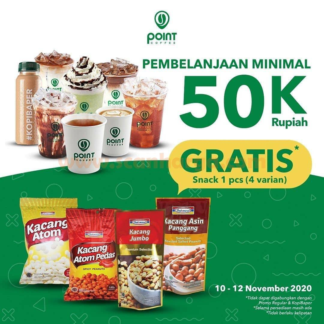 Point Coffee Promo Gratis Snack Kacang Setiap pembelian min. 50K