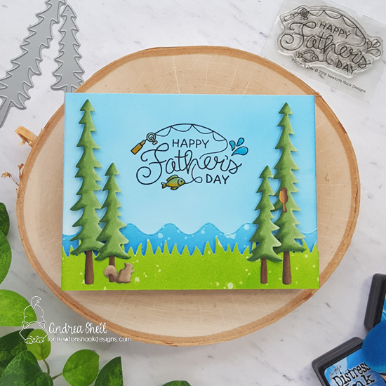 Father's Day card by Andrea Shell | Father's Day Stamp Set, Forest Scene Builder Die Set, Land Borders Die Set and Sea Borders Die Set by Newton's Nook Designs #newtonsnook #handmade